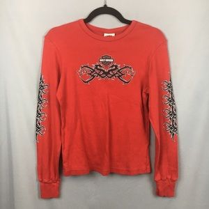 Harley Davidson Red Sparkle Dragon Long Sleeve